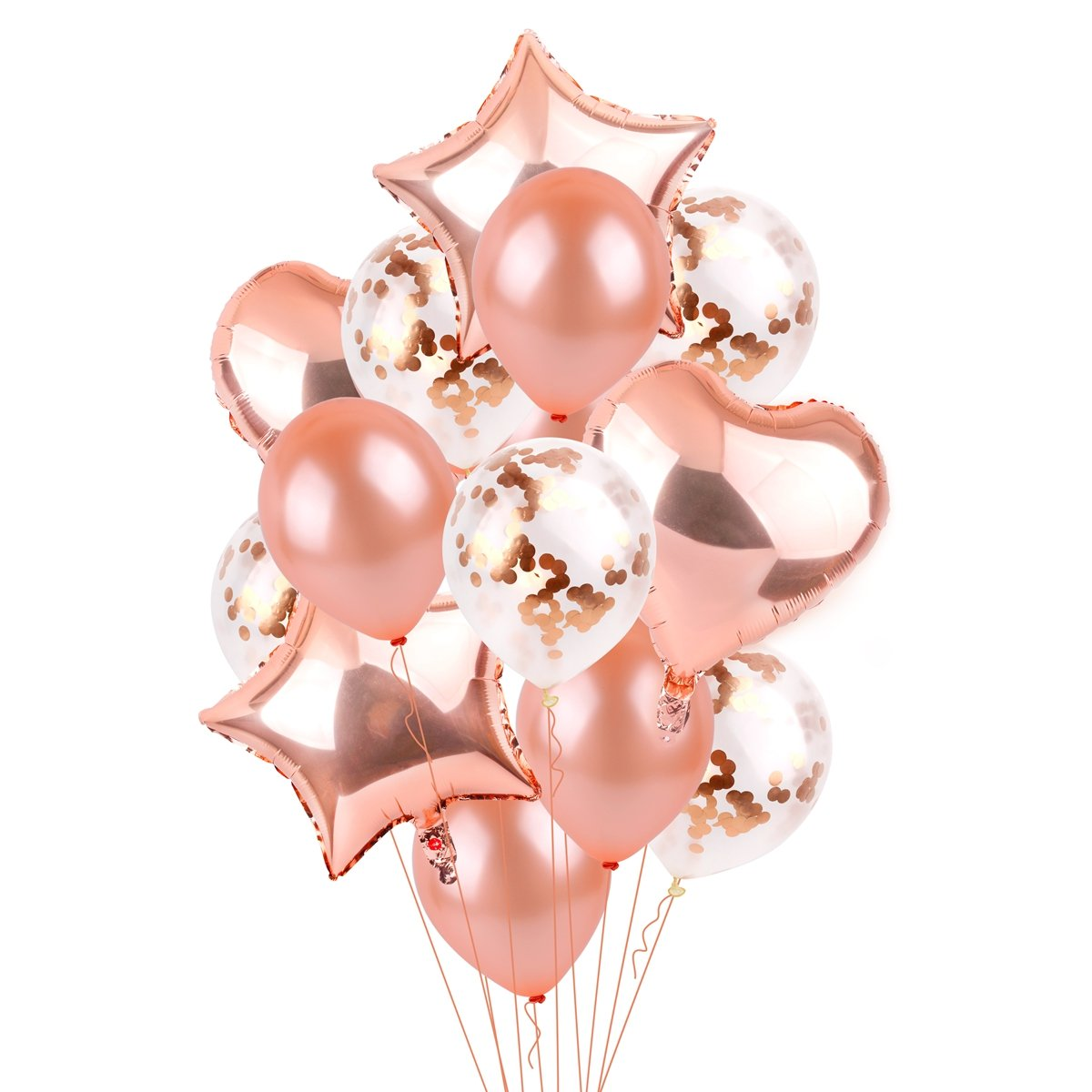 Rose Gold Balloons Party Decorations - FengRise 2018 Pack of 14,12 inch Rose Gold Confetti Prefilled and Latex Balloons&18 inch Star Heart Balloons for Birthday Party,Wedding,Baby Shower,Graduation by FengRise