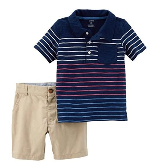 ef177cf4 Amazon.com: Carter's Boys 2 Pc Striped Polo Shirt Tee and Flat Front ...