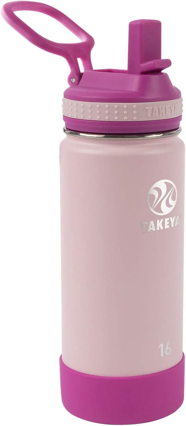 Takeya Kids Insulated Water Bottle w/Straw Lid, 16 Ounces, Blush/Super Pink