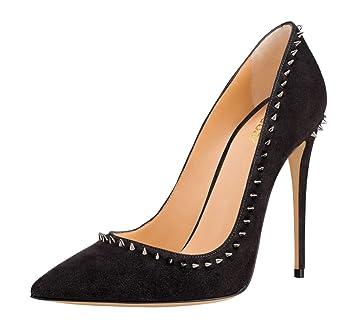 NBWE Damen Sexy High Heels Pumps 12cm Wildleder Kleid Schuhe
