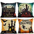 HOSL PW01 4-Pack Happy Halloween Cotton Linen Square Burlap Decorative Throw Pillow Case Cushion Cover Bat Pumpkin