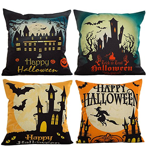 [HOSL PW01 4-Pack Happy Halloween Cotton Linen Square Burlap Decorative Throw Pillow Case Cushion Cover Bat] (Halloween Decorations)
