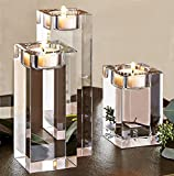 Amazing Home Large Crystal Candle Holders Set of 3, 3.1/4.7/6.3 inches Height,Prepackaged Elegant Heavy Solid Square Tealight Holders Set Centerpieces for Wedding, Home Decor, Ceremony and Anniversary