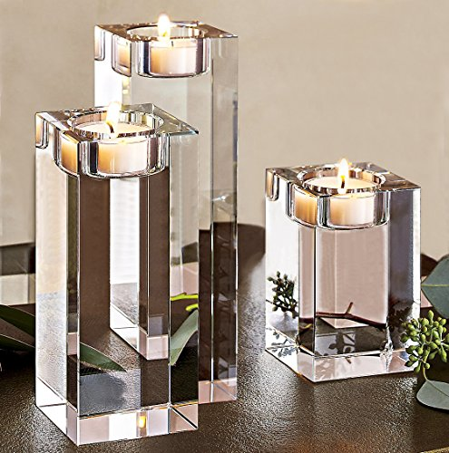 Wedding Candle Holder Centerpiece Decor - Amazing Home Large Crystal Candle Holders Set of 3, 3.1/4.7/6.3 inches Height,Prepackaged Elegant Heavy Solid Square Tealight Holders Set Centerpieces for Wedding, Home Decor, Ceremony and Anniversary