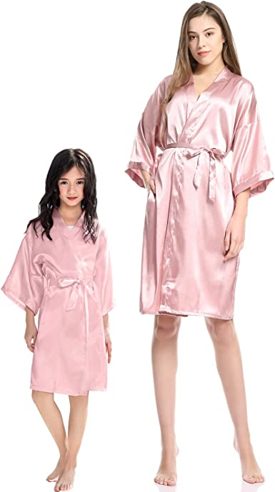 Mother and Daughter Family Matching Pajamas Floral Nightgowns Cotton Kimono Short Robes Sleepwear