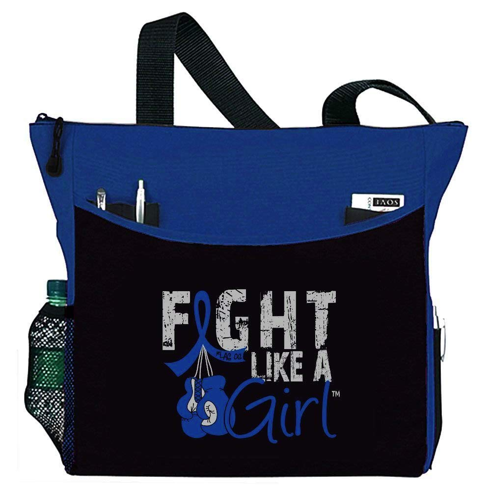 """Fight Like a Girl Boxing Glove Tote Bag""""Dakota"""" in Blue for Colon Cancer Ankylosing Spondylitis RA (Assorted Colors)"""