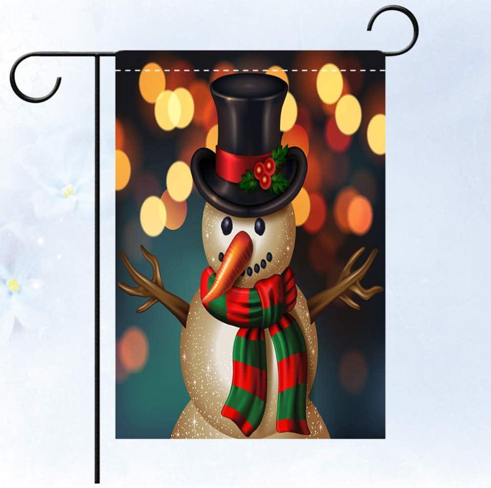 Yardwe Dekorative wasserdichte doppelseitige Schneemannmuster der Weihnachtsflagge 1pc h/ängende Hausyard des Flaggenfahnengarten-Balkons im Freien