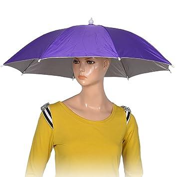 Poliéster púrpura 8 costillas Pesca lluvia de Sun Accesorio de cabeza del casquillo del sombrero del