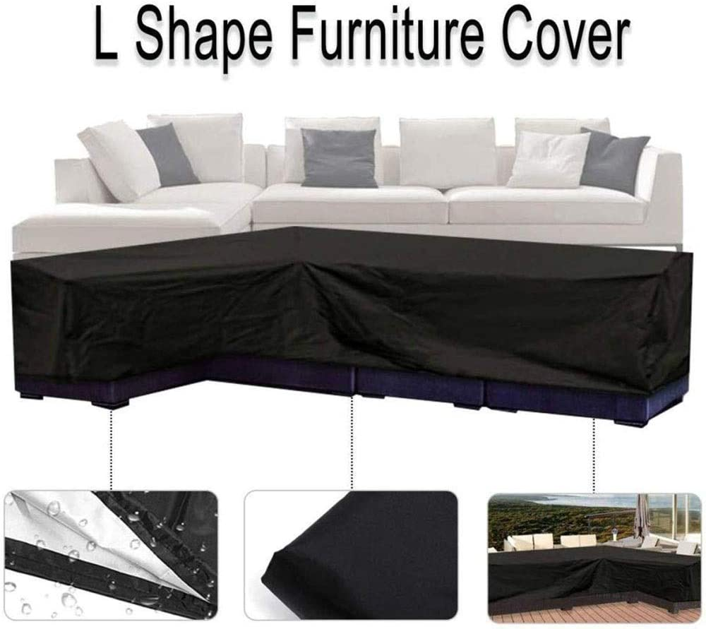 L-shaped Outdoor Sofa Cover Size : 300x300x98x70cm Dustproof And Waterproof Protection Furniture Cleaning 210D Oxford Cloth 300x300x98x70cm Black
