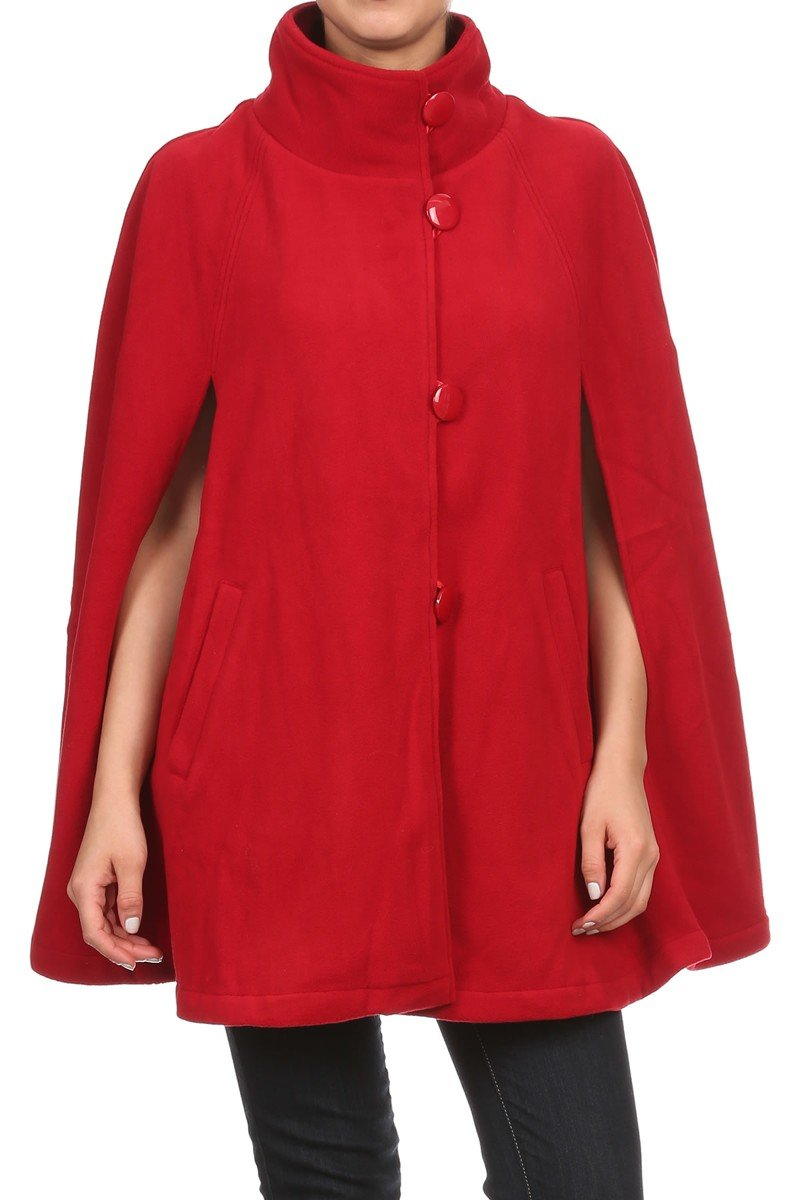 LL Womens Solid Red Warm Open Front Button Fleece Poncho Cape