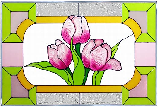Tulips Art Glass Panel Wall Window Hanging Suncatcher 14 x 20