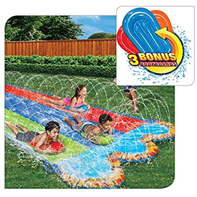 BANZAI Triple Racer Water Slide with 3 Bonus Body Boards: Toys & Games