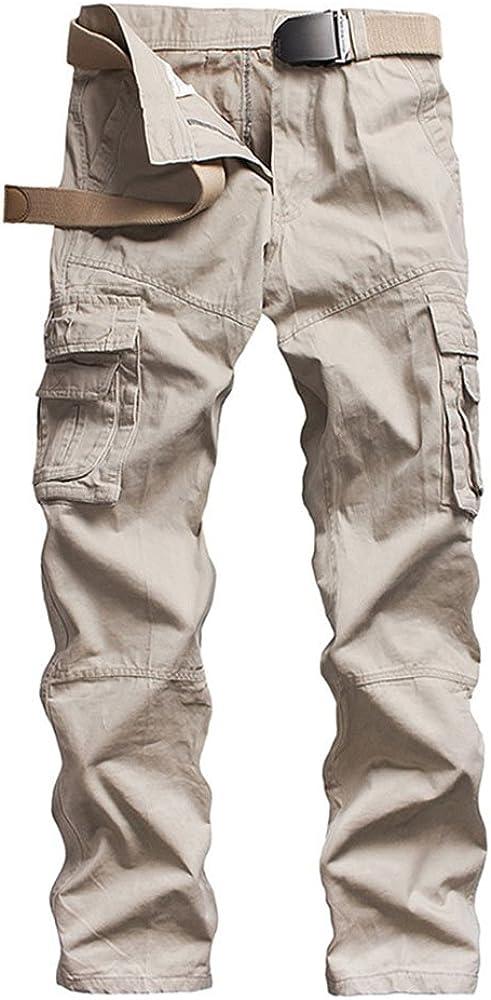 ZKOO Pantalon Multi Bolsillos Laboral Hombre Cargo Pantalons ...