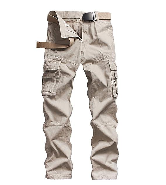 ZKOO Pantalon Multi Bolsillos Laboral Hombre Cargo Pantalons Pantalones De Trabajo Militar Casual Algodón Casuales: Amazon.es: Ropa y accesorios