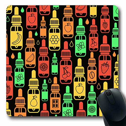 Ahawoso Mousepads for Computers Taste Orange Banana Vape Vapor Chaotic Drop Cherry Chocolate Coffee Complicated Design Liquid Oblong Shape 7.9 x 9.5 Inches Non-Slip Oblong Gaming Mouse Pad