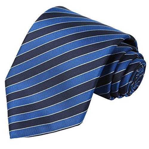 Big Tie - KissTies Tall Men Navy Extra Long Tie Blue Striped Necktie + Gift Box(63'' XL)