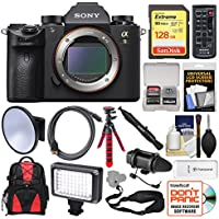 Sony Alpha A9 Wi-Fi 4K Digital Camera Body with 128GB Card + Backpack + Video Light & Microphone + Tripod + Remote + Kit