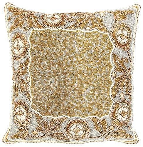 - Linen Clubs Floral Border Hand Beaded Decorative Pillow Cover 14x14Square Gold, Handmade by Skilled Artisans, A Beautiful and Elegant Accessory to Dress up Your Couch, Sofa or Bed
