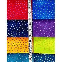 8 Fat Quarters Basic Bubbles By Laurel Burch From Clothworks 100% Cotton Quilt Fabric