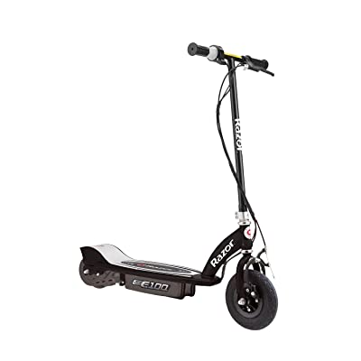 Razor E100 Kids Ride On 24V Motorized Powered Electric Scooter Toy, Speeds up to 10 MPH with Brakes and Pneumatic Tires, Black : Sports & Outdoors