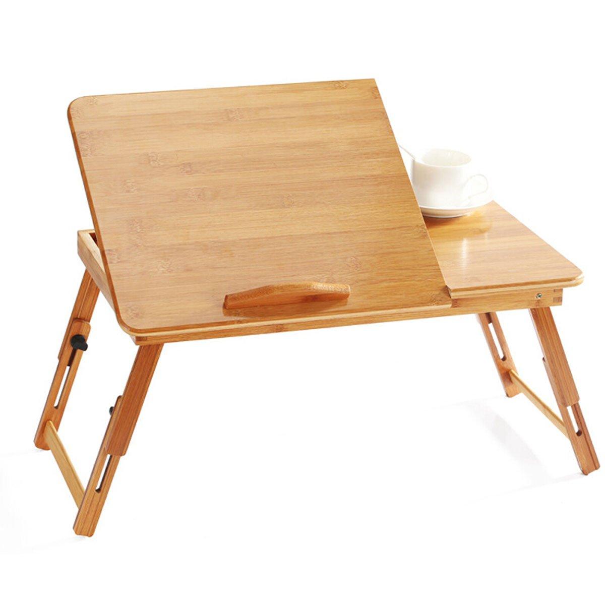 折りたたみ可能なコンピュータデスク、調節可能なポータブル竹ベッドソファラップトップスタンド引き出し付き朝食ベッド用トレイ66 * 30 * 30cm (サイズ さいず : 55cm) 55cm  B07L2N647W
