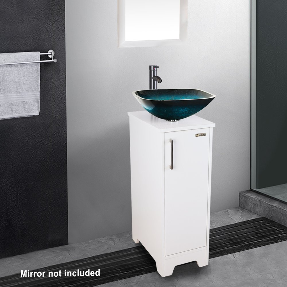 A04b08w Eclife 14 Bathroom Vanity And Sink Combo White Small Vanity Ocean Blue Square Tempered Glass Vessel Sink 1 5 Gpm Water Save Faucet Solid Brass Pop Up Drain Vessel Sinks