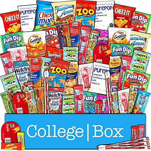 - CollegeBox – Bulk Snacks Care Package (60 Count) for College Students - Variety Assortment Gift Box with Treats for Studying and Dorm Rooms – Chips, Cookies, Candy, Final Exams, Valentine's Day