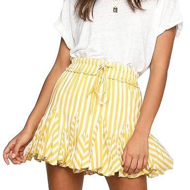 Hibote Verano Falda para Mujeres - Moda Cintura Alta Swing Skirt a ...