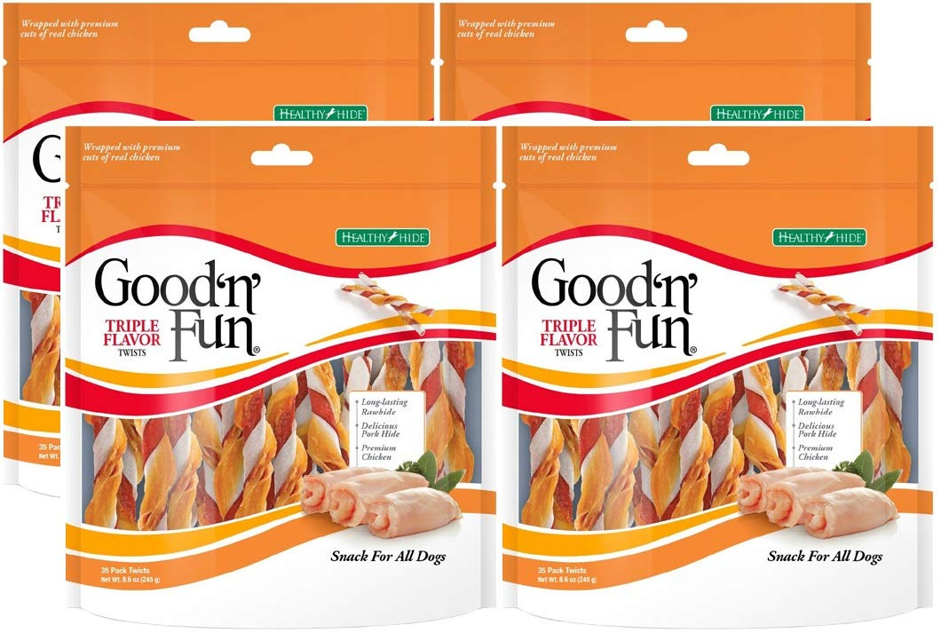 Healthy Hide Good'n'Fun 4 Pack of Triple Flavored Rawhide Twists Chews for Dogs, 35 Twists Per Pack by Healthy Hide