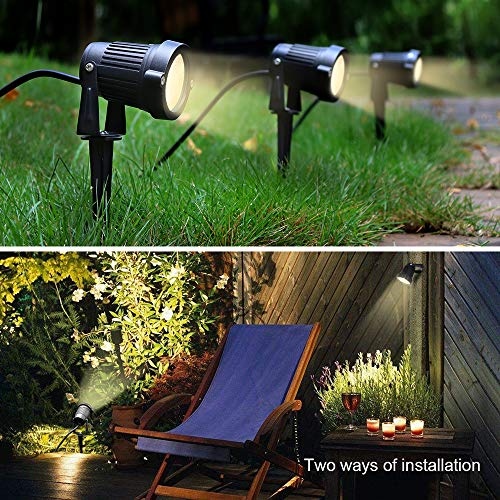 ZUCKEO 5W LED Landscape Lights with Transformer 12V 24V Waterproof Garden Pathway Lights Warm White Walls Trees Flags Outdoor Spotlights with Spike Stand (8 Pack with Transformer) by ZUCKEO (Image #4)
