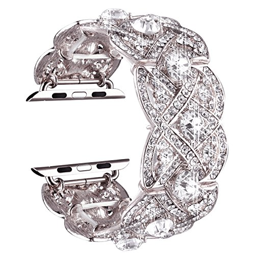 VIQIV Bling Bands for Apple Watch 38mm 42mm Iwatch Series 3, Series 2, Series 1, Diamond Rhinestone Stainless Steel Metal Bracelet Wristband Strap for Women ()