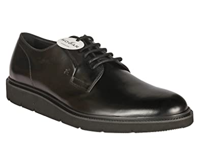 Hogan men's lace-up in black shiny calf leather