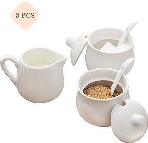 8oz White SugarandCreamerSet with Lid Spoon,Porcelain Classic Pitcher & 2 Pcs Sugar Bowls for Coffee Tea