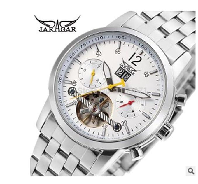 JarAgar Hombre Automático Mecánico Reloj de pulsera Decor Tour Billon Taquímetro Color Blanco