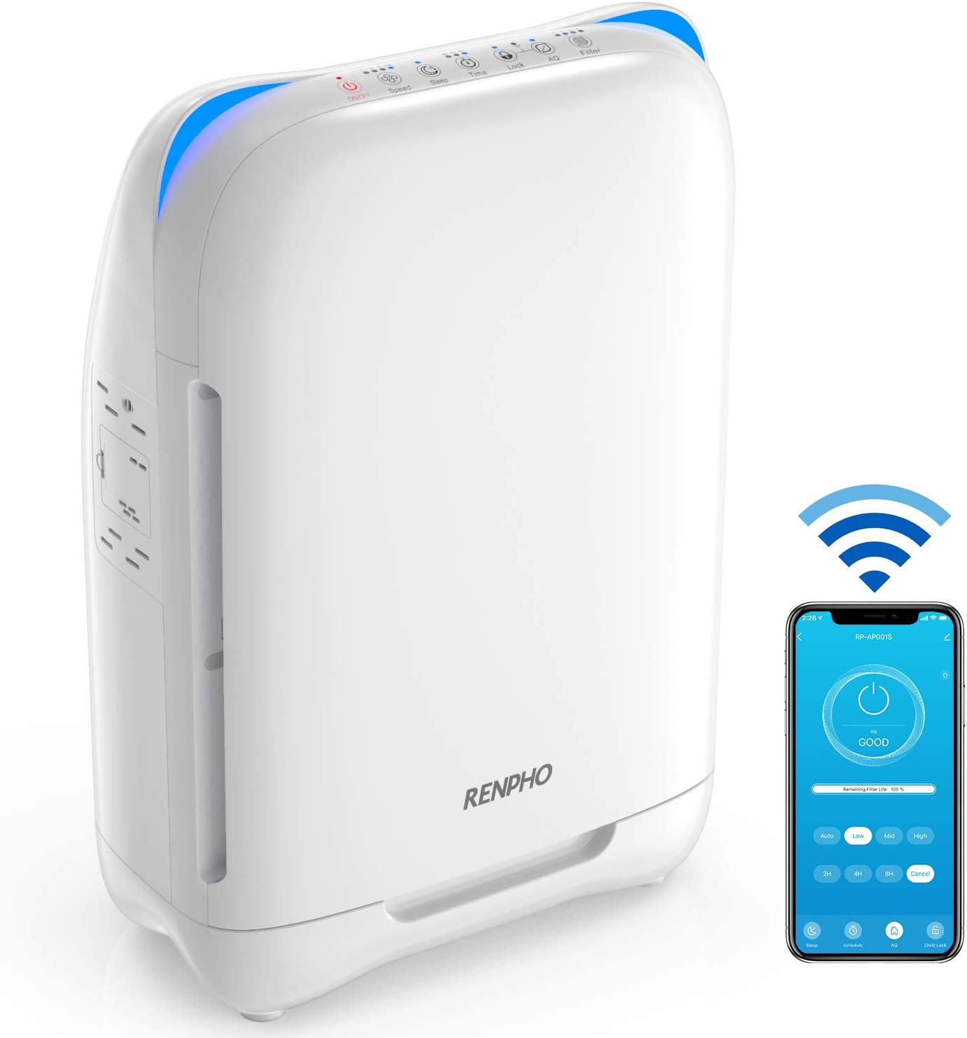 RENPHO Air Purifier True HEPA Filter for Large Room 301 SQ.FT with Smart WiFi, Air Cleaner for Allergies and Pet Dander, Work with Alexa, Personal Air Purifier for Home, Traps Germs Smoke Odor Mold