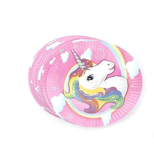trixes Paquete 10 Piezas Platos de Papel Multicolores Unicornio para Fiestas Cumpleaños Infantiles
