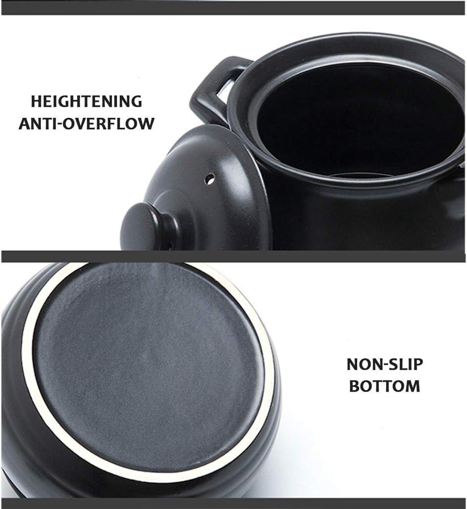Cocottes en C/éramique Pot Pierre Pot en Terre Pot /À Haute Temp/érature Une Personne Cuisine Soupe Noire Mini B/éb/é M/énage Anti-/ébouillantage Plein /Émail avec Couvercle