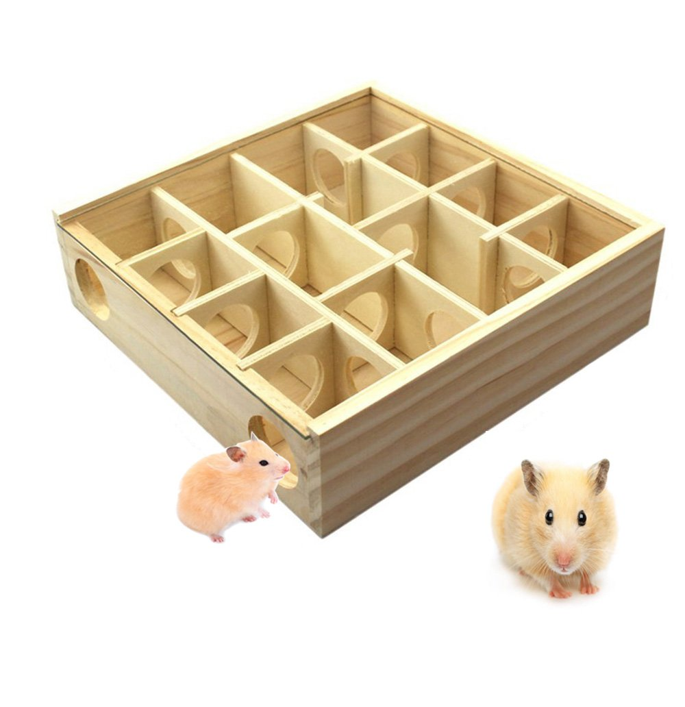 Hkim Wood Hamster Maze, PVC Maze Toy with Acrylic Cover Dwarf Mouse Cage Tubes Gerbil Maze for Small Furry Animals (Wood Maze)