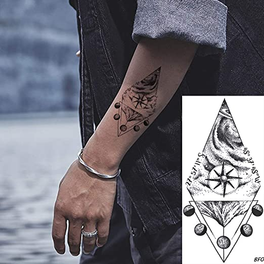 tzxdbh 6 Pirce Geometic Brújula Negro Luna Brazo Hombres Tatuajes ...