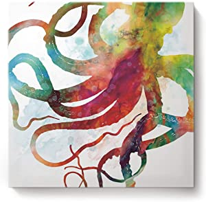 Square Canvas Wall Art Oil Painting for Bedroom Living Room Home Decor,Colorful Octopus Art Ocean Animal Office Artworks,Stretched by Wooden Frame,Ready to Hang,12 x 12 Inch