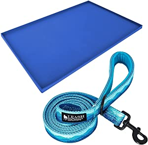 """Leashboss XL Mat and Wave Leash - Silicone Dog Food Mat (Blue 25"""" x 17"""") and Double-Thick 6Ft Reflective Leash with Padded Handle (Wave)"""