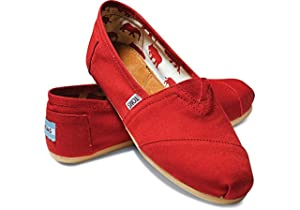 Toms Women's Classic Canvas RED.. Slip-on Shoe - 5 B(M) US