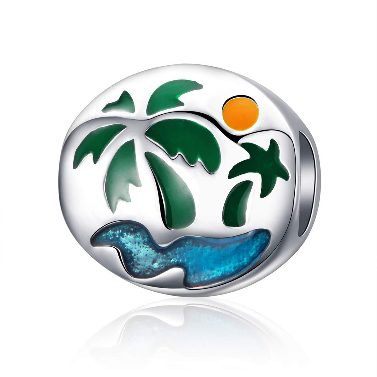 The Kiss Summer Holiday Beach Sunset Palm Tree Enamel 925 Sterling Silver Bead Fits European Charm Bracelet