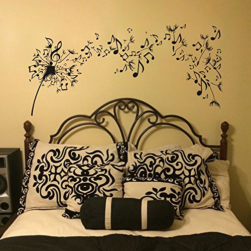 Cheap  Dandelion Wall Decal Vinyl Sticker Decals Nature Flower Music Musical Notes Boho..
