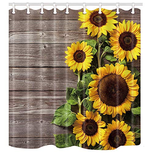 ChuaMi Polyester Fabric 69 x 70 Inches Shower Curtain Mildew Resistant Waterproof Bathroom Decoration Curtains with Hooks (Sunflower)