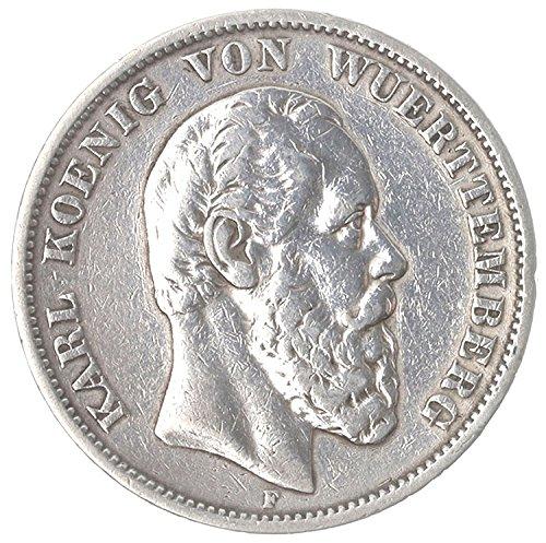 Münze 5 Mark 1874 F Württemberg Silbermünze König Karl Von