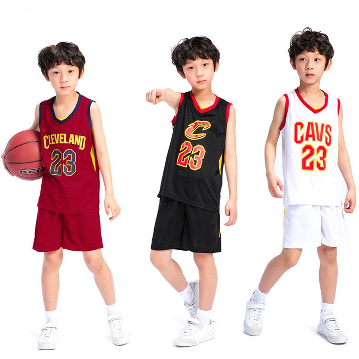 a9a0617a76b Kids Boys Cleveland Cavaliers LeBron James  23 Basketball Shorts Summer Jerseys  Basketball Uniform Top Short  Amazon.co.uk  Sports   Outdoors