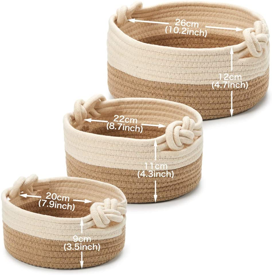 Round Storage Organiser Perfect for Home Decor Closet Beige//Brown Toys EZOWare Multi-Sized Set of 3 Natural Cotton Rope Shelf Basket