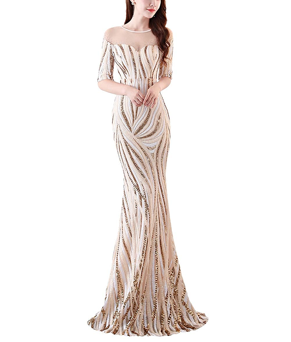 1372beige Chowsir Women Sexy Elegant Slim Sequin Long Cocktail Party Evening Dress