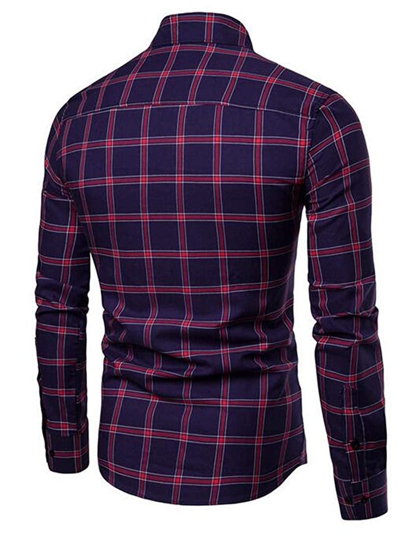 Wopop Mens Slim Casual Button Front Long Sleeve Plaid Buffalo Shirts